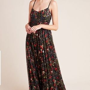 Anthropologie Massima Floral Maxi Dress S Pleated